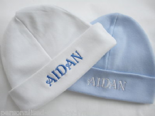Personalised Baby Hat. Available in White, Pink or Blue